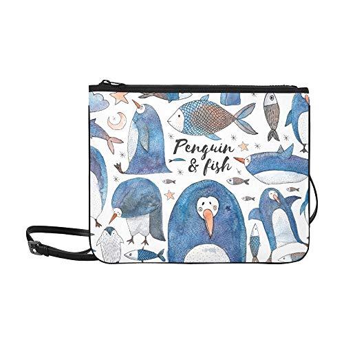 WYYWCY Niedliche Pinguin Fisch Set Hand benutzerdefinierte hochwertige Nylon dünne Clutch Cross Body Bag Schultertasche