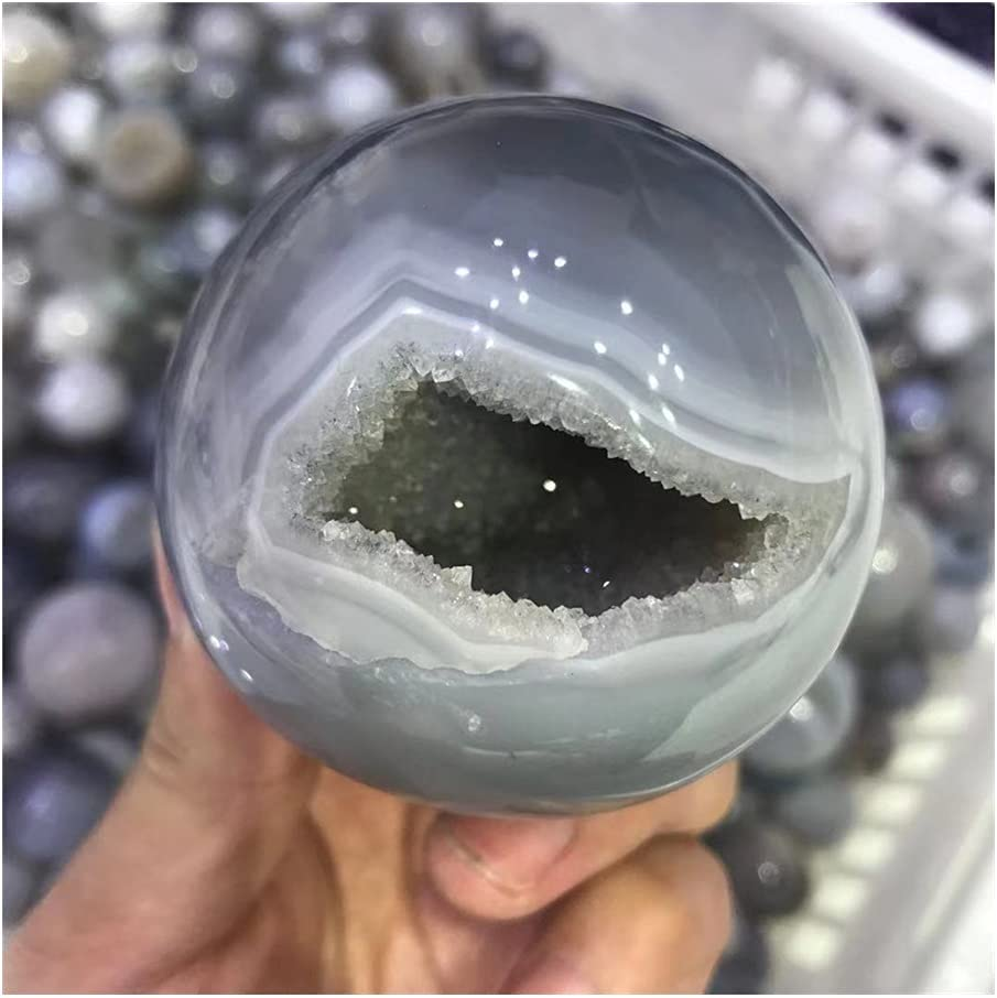 douzu Healing Crystal Natural Very popular Hole Agate Sphere Luxury goods Cr Clear