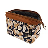 Makeup Bag/Travel Cute Cosmetic Pouch Storage/Brush Holder Toiletry Kit Fashion Women and Girl Waterproof Jewelry Organizer with Zipper Carry Case Portable Cube Purse,Brown Flowers