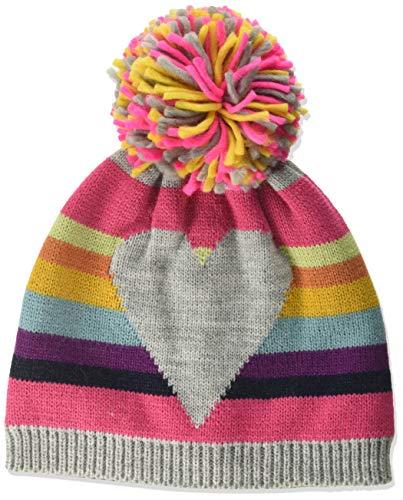 maximo Baby-Mädchen mit Ringel und Herz und Pompon Mütze, Mehrfarbig (Graumeliert/Multicolor 599), (Herstellergröße: 53/55)