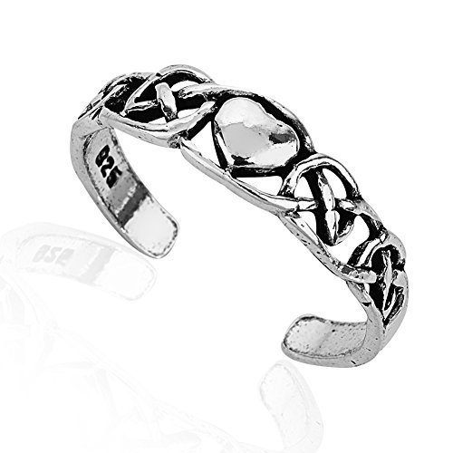 925 Sterling Silver Simple Symbolic Celtic Knot Heart Open Ended Band Toe Ring