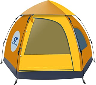 HENGTONG Camp Tent 3-4 Person Family Tent Waterproof Hydraulic Anti-UV Windproof Backpacking Canopy Tent Double Layer 4 Season Great for Outdoor Hiking Picnic Hunting