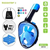 ROCONTRIP Snorkeling Mask,Full Face Snorkel Diving Mask 180°View Panoramic Design,Anti-Fogging Anti-Leak with Adjustable Head Straps with Longer Snorkeling Tube for Man Woman Adult Youth Kid - Best Reviews Guide