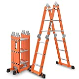 Ladder,Home Aluminum Telescopic/Telescopingladder Multi Purpose Foldable Extendable Ladder with Stabiliser Bar,4.0mm/4.7m = Herringbone