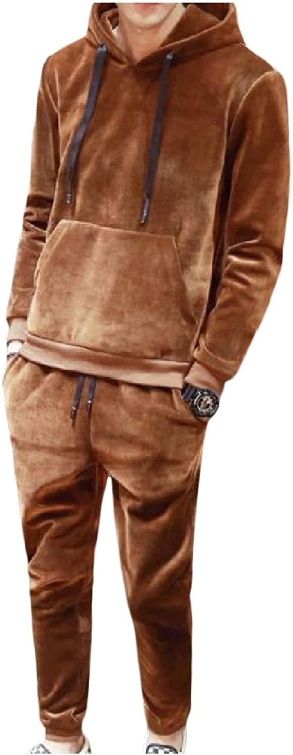 Vska Mens Casual Workout Solid Thick Velvet Hooded Tops Outwear Pants Outfit
