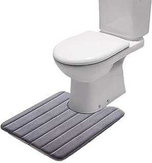 Premium Memory Foam Toilet Bath Mat (24 X 20) - Super Absorbent Oval U Shape Contour Bath Rugs for Bathroom Non-Slip, Machine Washable, Large Contour Toilet Mat for Bathroom (Grey)