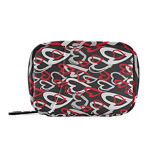 Hunihuni Love Heart Pattern Medicine Organizers - Bolsa de pastillas, portátil, bolsa de almacenamiento con cremallera para viajes