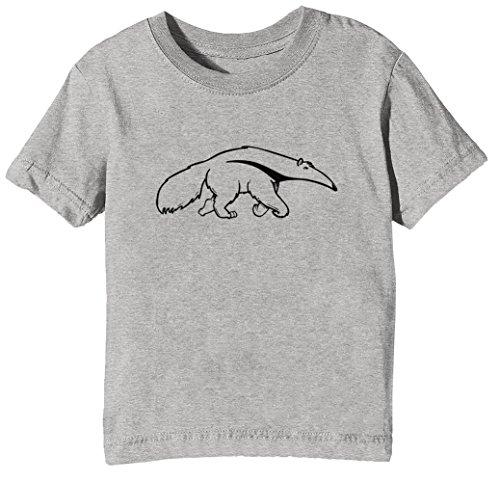Oso Hormiguero Niños Unisexo Niño Niña Camiseta Cuello Redondo Gris Manga Corta Todos Los Tamaños Kids Unisex Boys Girls T-Shirt Grey