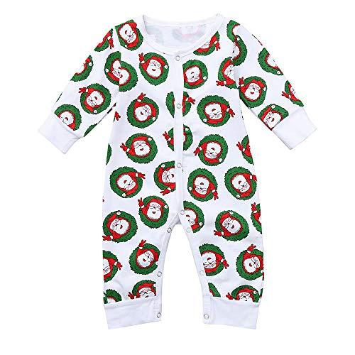 Cuteelf Baby Langarm Jungen und Mädchen Weihnachten Weihnachtsmann Print Overall Nette Warme Bequeme Kalte Pyjamas Indoor Baby Hare Unisex Cartoon Kostüm
