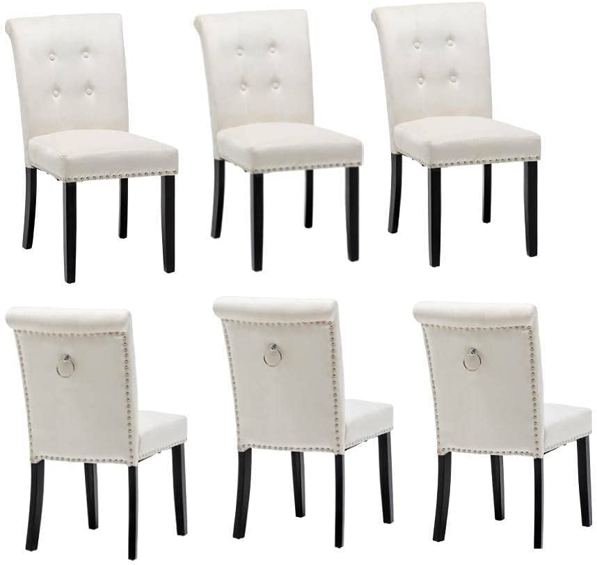 6 Set Color: White Velvet Dining L Upholstered Louisville-Jefferson County Mall Max 72% OFF Wood Chair Accent
