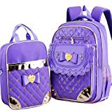 Girls Backpacks School Bag for Kids Book Bag for Primary with Lunch Bag Moonwind (Purple)