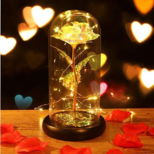 Minterest Rosa Eterna,Rosa de Cristal con luz LED,Regalos para San Valentin,Regalos San Valentin para Mujer (Multicolor)