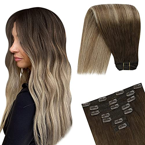 YoungSee 7pcs/120g Clip Extension Cheveux Naturel - Marron Foncé Ombre Brun Doré mixte Blond Doré #4/10/16 - Hair Extension Clip in Naturel Human Hair