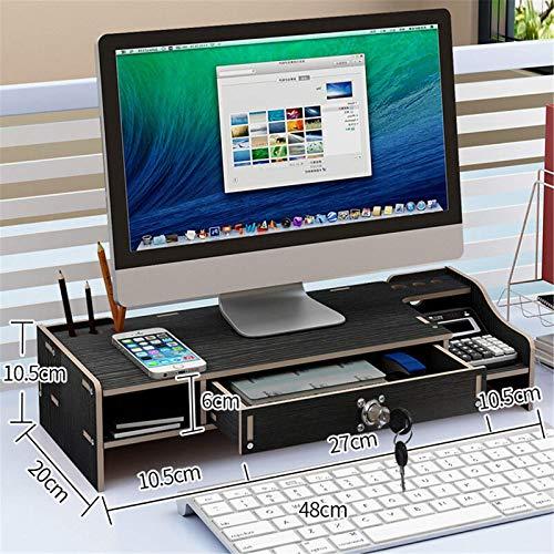 Soporte de madera para monitor de escritorio, monitor de ordenador, portátil, soporte elevado, soporte de base para hogar, oficina, ordenador, portátil, tamaño 48 x 20 x 10,5 cm, color: negro