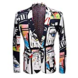 Mens Fashion Slim Fit Suit Jacket Casual Print Shiny One Button Blazer Coat
