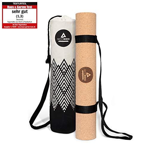 Secoroco Yogamatte Kork - getestet mit SEHR GUT - 5 mm Stärke - rutschfest, Vegan & nachhaltig - Yoga Matte aus Kork & Kautschuk inklusive Yogatasche