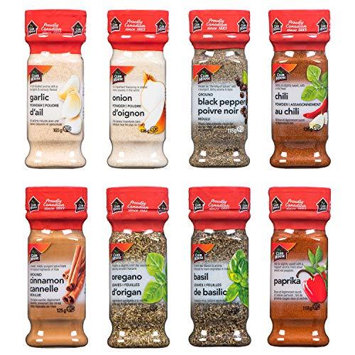 Club House, Quality Natural Herbs & Spices, Pantry Staples Pack, 8 Count (Garlic Powder, Onion Powder, Chili Powder, Cinnamon, Oregano,...