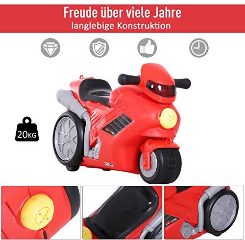 HOMCOM 4-in-1 Kinderkoffer Motorrad Kindergepäck Multifunktion Handgepäck mit Gurt zum Sitzen und Rollen mit Rädern Kunststoff Rot 52 x 25 x 34 cm 20 kg Belastbarkeit - 6