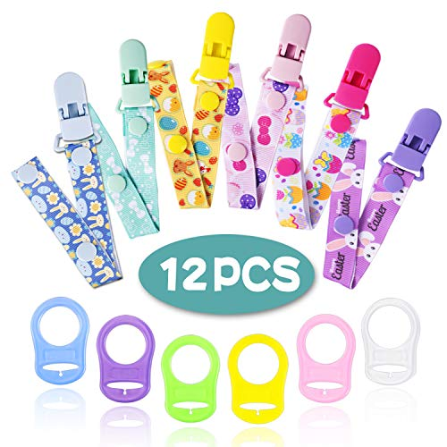 Clip Per Ciuccio e Silicone Pulsante Anello, JAANY Catenella Ciuccio Clip Catena Pulsante Fisso Regolare Per Baby Ragazzi Ragazze (12 Pcs)