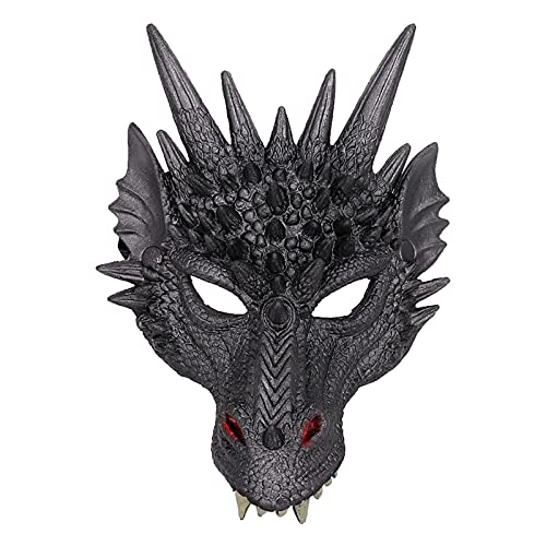 SM SunniMix Novelty PU Dragon Face Full Head Horror Atmosphere para Adults Cosplay Party Props Masquerade Fancy Dress - Negro