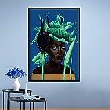 KWzEQ Pintura sin Marco nórdica Abstracta Moderna Chica con una Variedad de Flores para el Cabello y pájaros Arte de la Pared póster decoración del hogarAY6858 50X70cm