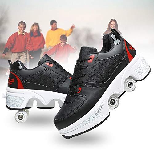 HealHeaters Zapatillas con 4 Ruedas Patines De Ruedas Ajustables Patines En Linea Doble Fila Skate Zapatos Invisible Deformación Patinaje Zapatos para Adultos,Black+Red,36