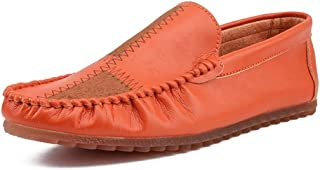Shangruiqi Loafer Stitched for Men Round Toe Moccasins Slip On Microfiber Leather Lightweight Cozy Breathable Manual Suture Anti-Skid (Color : Orange, Size : 6 UK)