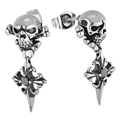 Vintage Steel Pirate Skull Stud Earrings with Dangling Spiked Cross and Black CZ
