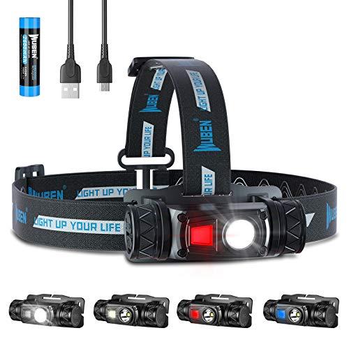 WUBEN H1 Linterna Frontal LED Alta Potencia, Blancos y Rojos Múltiples Fuentes De Luz, USB Recargable 1200 Lumens 10 modos IP68 Impermeable Ajustable Linterna Cabeza para Camping, Pesca, Running