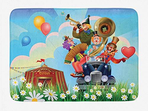 Alfombrilla de baño de circo, payasos, coche de época, circo, gran carpa, margaritas, flores, corazón en la pradera, divertido diseño, arte, felpa, decoración de baño, alfombra con respaldo antidesliz