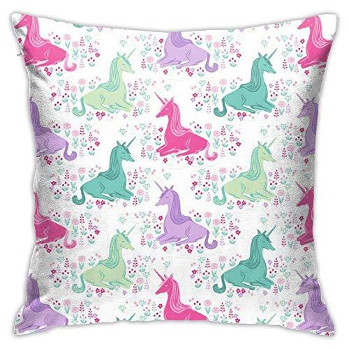 QUEMIN Fodere per Cuscini Primaverili Sweet Unicorn Pink Pastel Girls Federe per Divano Home Decor 18X 18 Pollici
