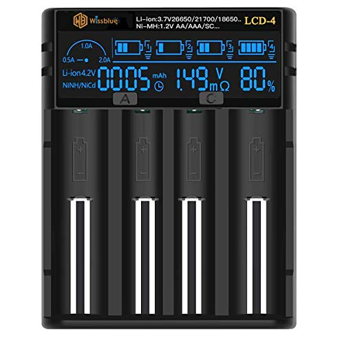 Universal 18650 Battery Charger 3.7v 1.2v, LCD Screen Can Display Capacity, 2A Fast Charger for...