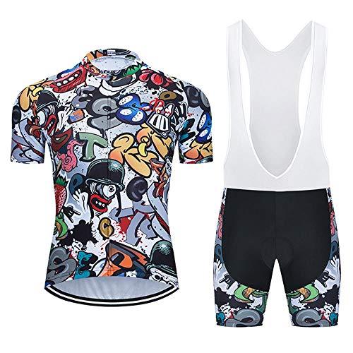 Moxilyn Abbigliamento Ciclismo da Uomo,Maglia Manica Corta+Pantaloncini,Cuscino Gel 9D,Ciclismo Moda Set Completo,Ciclismo Ciclismo Jerseys per Uomo,Ad Asciugatura Rapida Traspirante