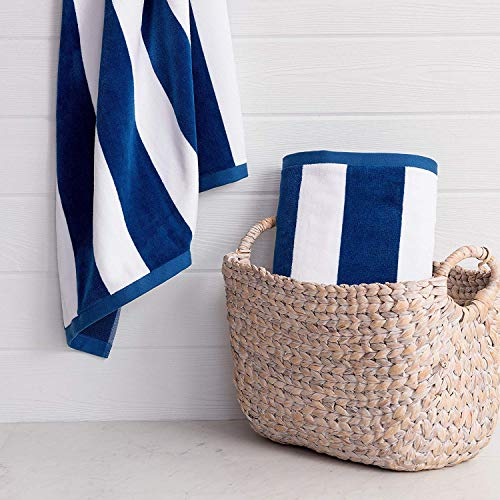 "Lushomes Beach Swimming Royal Blue & White Cabana Cotton Stripe Pool Towel for Mens & Girls Towel (36 x 72"", 90 x 180 cms, 750 Grams)"