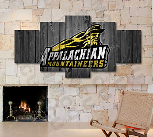 5 Piece American Football College University Teams Art Decor Wall Poster (5 Piece Medium, Appalachian State MOUNTAINERS)