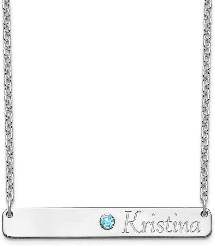 Solid 925 Sterling Silver Name Max 88% OFF Pendant Bar Max 80% OFF Birthstone and Neckla