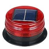 JUEJIDP Luz de baliza LED Solar Luces de Advertencia inalámbricas a Prueba de Agua, con Base magnética para vehículos, carretillas Elevadoras, Camiones, Tractores, carros de Golf, UTV, autobus,Rojo