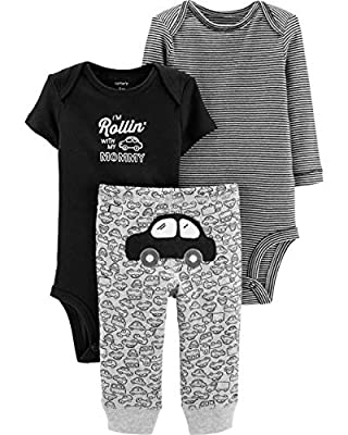 Carter's Baby Boys' 3-Piece Little Character Sets (Black/Rollin', 3 Months)