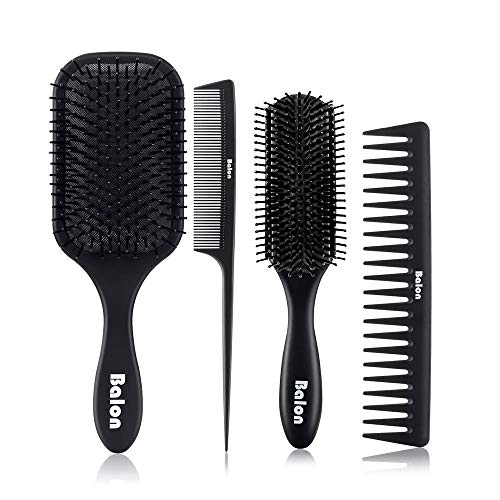 4Pcs Paddle Hair Brush Detangling Brush and Hair Comb Set for Men and Women Great On Wet or Dry Hair No More Tangle Hairbrush for Long Thick Thin Curly Natural Hair(Black)