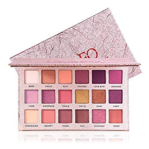 DGAFO Sombra de ojos de 18 colores con maquillaje de espejo paleta de belleza pigmento brillo mate Sombra de ojos rosa