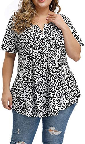 Allegrace Women s Plus Size Floral Blouses Henley V Neck Button Up Tunic Tops Ruffle Flowy Short product image
