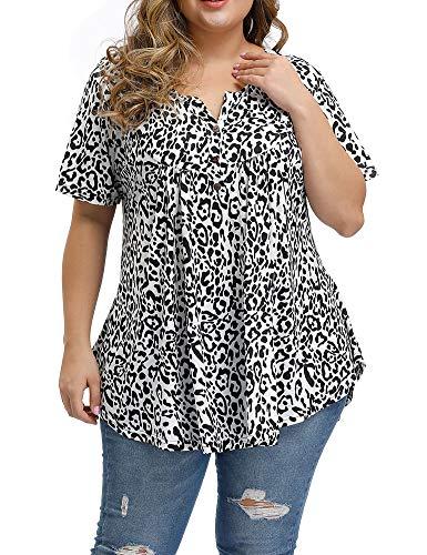 Allegrace Women's Plus Size Floral Blouses Henley V Neck Button Up Tunic Tops Ruffle Flowy Short Sleeve T Shirts P62 Black-Spots White 3X