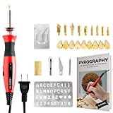 Wood Burning Kit + Free Beginners Guide, Best Pyrography Pen/Woodburner Tool with Adjustable Temperature, 21 PCS Carving/Embossing/Soldering Tips, Stencil, Carving Knife, Stand + Carrying Case
