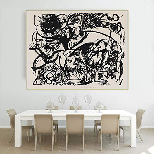 Impresión de lienzo Jackson Pollock 《Número 8 (negro que fluye)》 Arte de la lona Pintura al óleo Obra de arte famosa Póster Imagen Decoración del hogar 35x50cm Sin marco