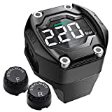 STEEL MATE Motorcycle TPMS Tire Pressure Monitoring System with Voltage Detection IP67 Waterproof Digital LCD Tire Warning System with Two External Sensors for Two-Wheeled Motorcycles
