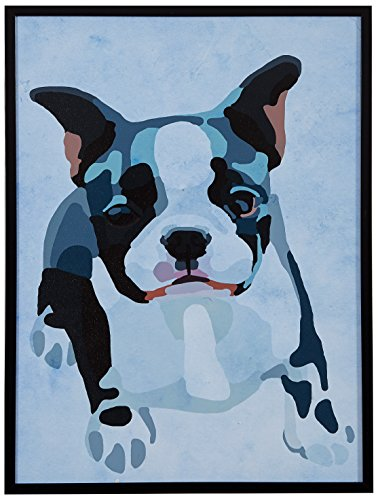 Amazon Brand – Rivet Modern Abstract Puppy Black, White and Pink Print Wall Art in Black Frame, 11.5' x 14.5'
