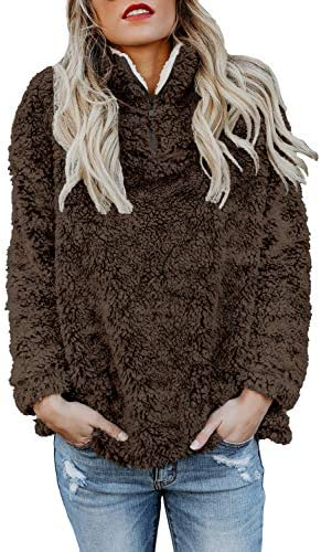 Chase Secret Oversized Sherpa Pullover Tops with Pockets Zip Sweatshirt for Teens Girls M Brown product image