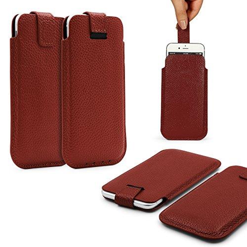 Urcover Funda universal en color marrón oscuro Pull Tab 3,5 pulgadas, funda para smartphone