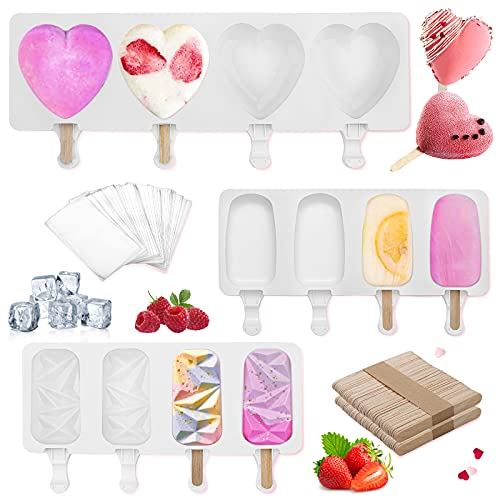 Silicone Popsicle Molds, 3 Pcs Cake Pop Molds Silicone Ice Pop Molds Bpa Free Reusable Ice Cream Maker, Chocolate Popsicle Set With 100 Sticks, 100 Popsicle Bags For Kids (A)