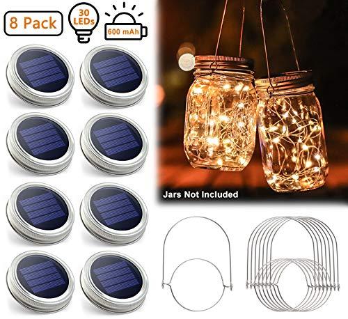 Urvoix Luci del Barattolo di Vetro Solare - Stringa da 8 LED da 30 LED Impermeabile Luci per coperchi con 8 Maniglie (Vasetti Non Inclusi), Perfetto per Le Decorazioni Esterne